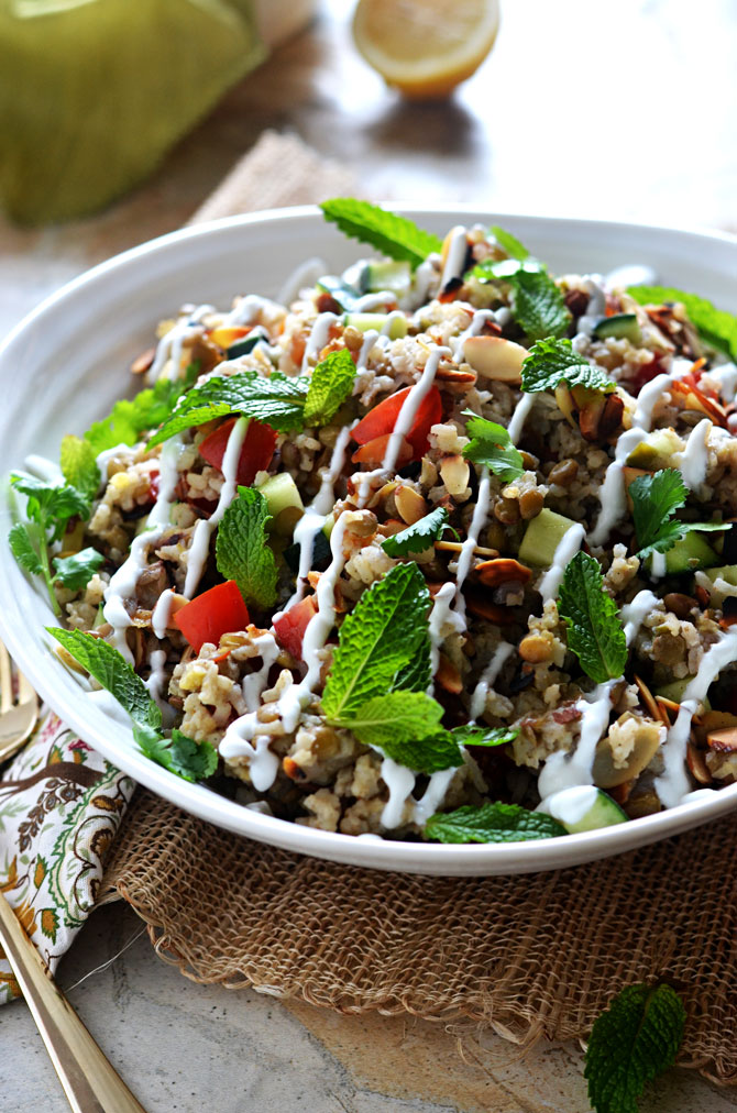Indian Spiced Rice & Lentil Salad. Forget the same old pasta salad for your next potluck. This flavorful rice salad is going to be a hit. Plenty of fresh ingredients keep it bright, while garlic, jalapeno, ginger, and spices give it depth that everyone's going to love. | hostthetoast.com