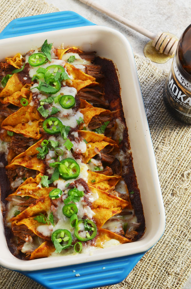 Slow Cooker Honey Chipotle Stout Enchiladas