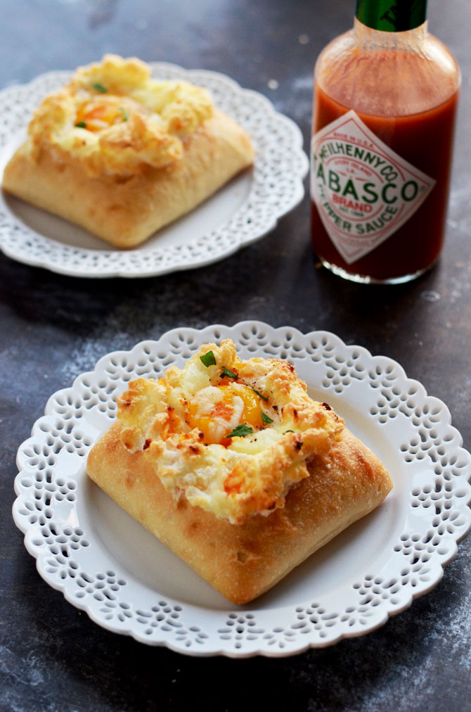 Spicy Egg Clouds with Ciabatta Boats! This stuffed-bread egg bake is so delicious and easy for breakfast!   hostthetoast.com