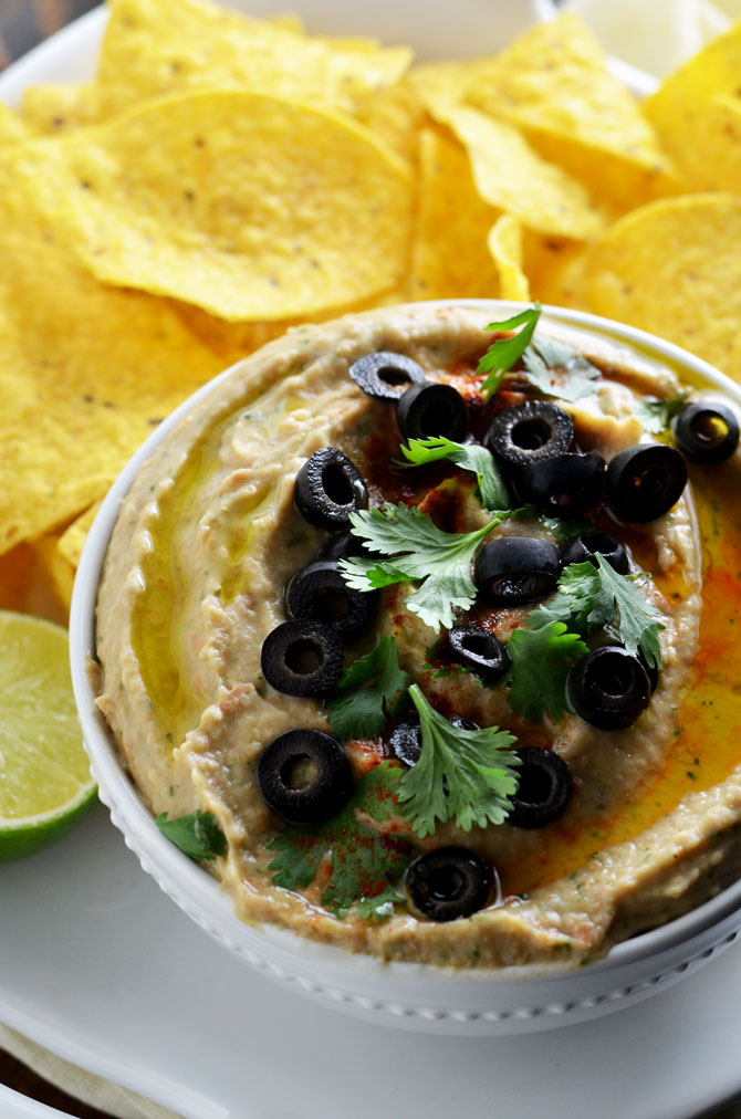 "Jalapeno Pinto Bean ""Hummus"". This creamy dip is like a hybrid between spicy refried beans and hummus. Perfect for a party! 