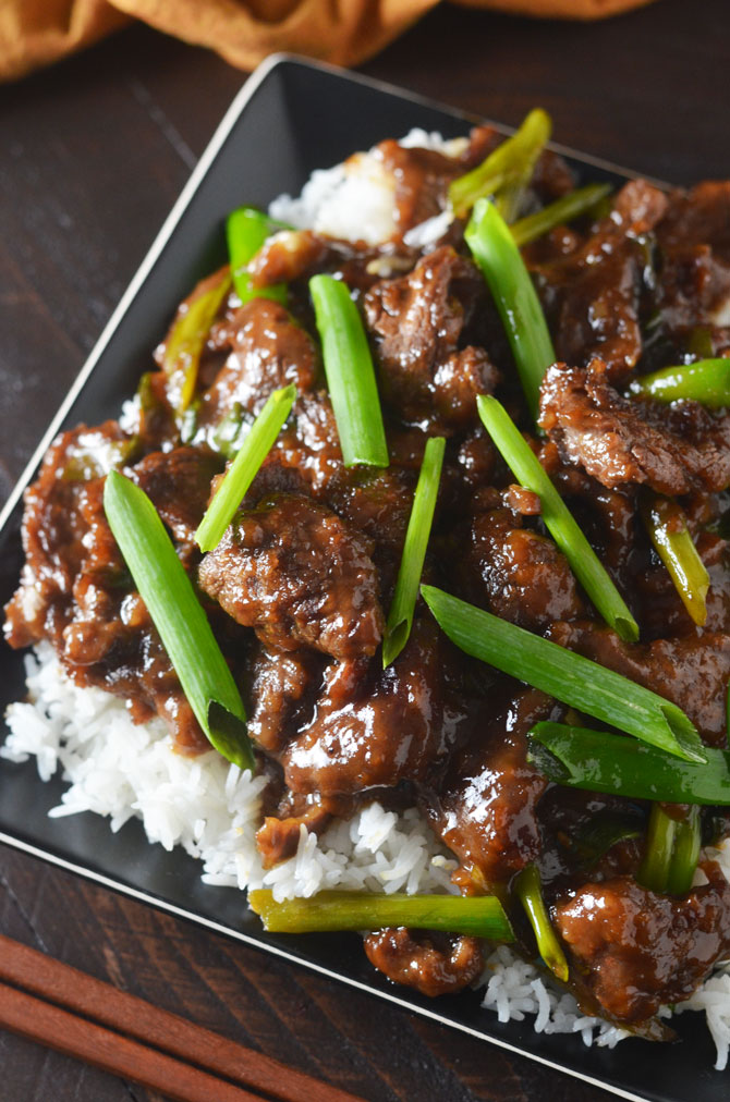 Mongolian Beef! Make the takeout dish at home with this easy, lighter, and tasty recipe! | hostthetoast.com