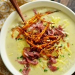Irish Baked Potato Soup with Corned Beef and Crispy Leeks