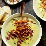 Irish Baked Potato Soup with Corned Beef and Crispy Leeks
