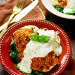 Sun-Dried Tomato Crusted Chicken with Goat Cheese and Herb Sauce