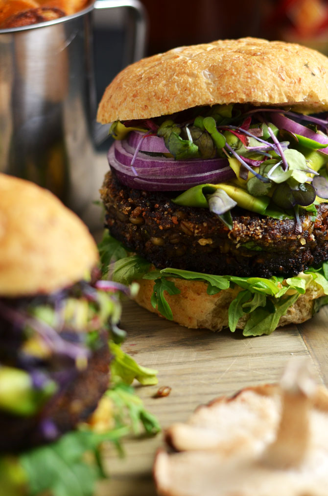 Umami Bomb Mushroom Burgers. Veggie burgers never tasted this good. These burgers are packed with mushrooms, barley, and some special ingredients that make them super savory but still vegetarian friendly. | hostthetoast.com