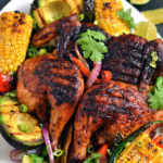 Mexican Brick Chicken with Grilled Corn and Avocados