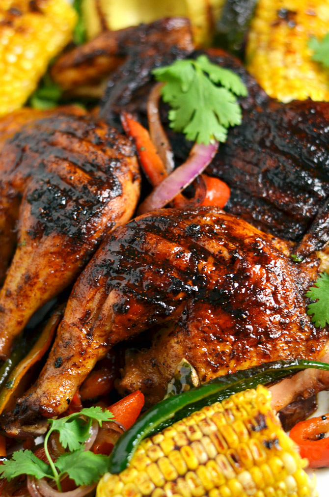 Mexican Brick Chicken with Grilled Corn and Avocados. Crispy and spicy ...