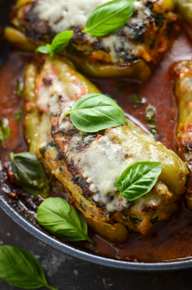 Saucy Skillet Chicken Sausage and Spinach Stuffed Peppers. These stuffed peppers are made on the stove-top and are filled to the gills with moist, Italian-seasoned filling. | hostthetoast.com