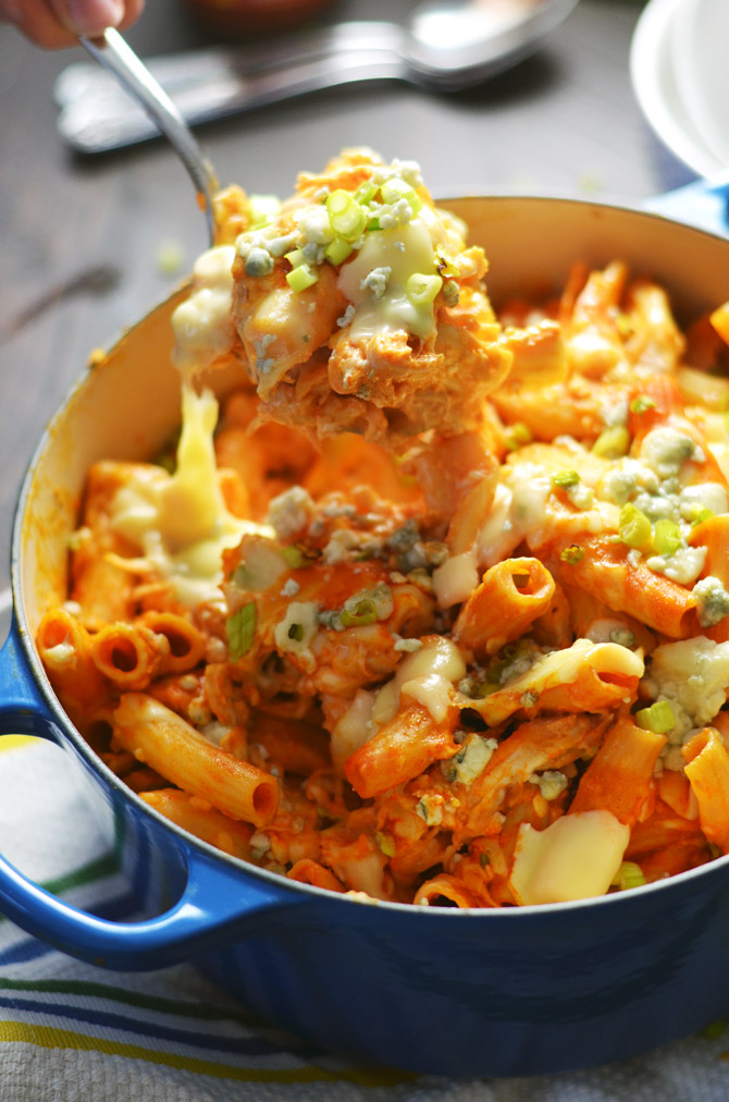One Pot Cheesy Buffalo Chicken Pasta. If you're a buffalo chicken fanatic (like me), you have got to try this simple, spicy pasta dish! | hostthetoast.com