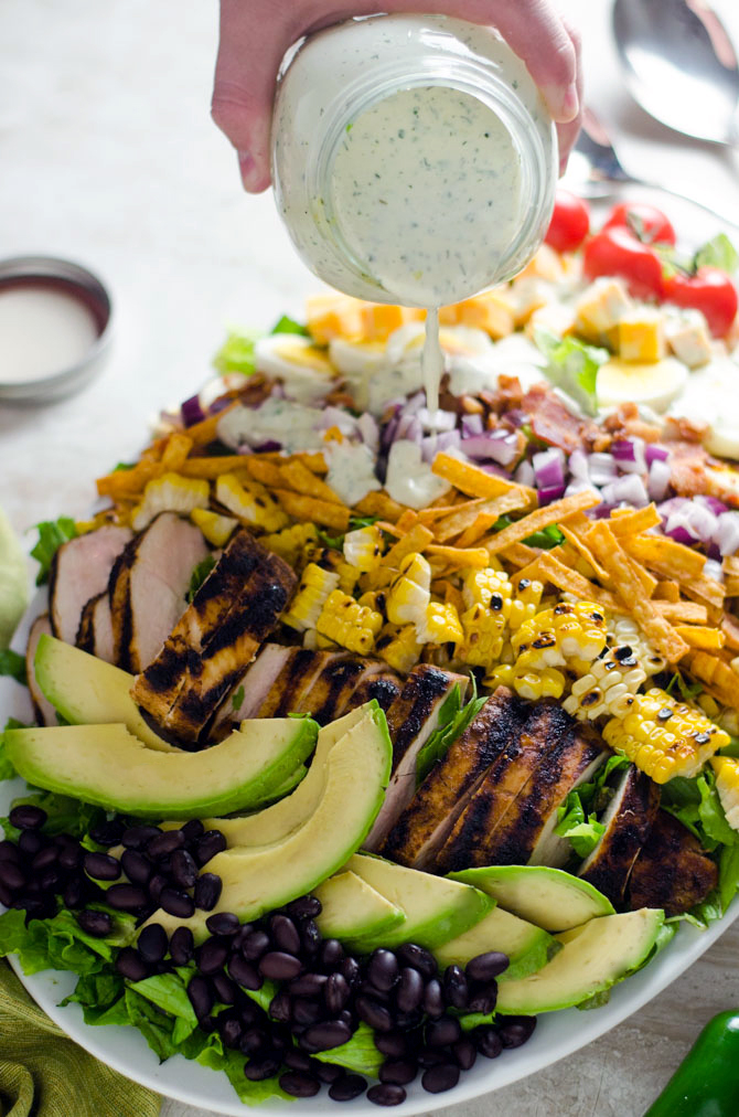 Southwestern Chicken Cobb Salad with Jalapeño Buttermilk Ranch. A spiced-up twist on the classic cobb, and one of my favorite all-time salads. | hostthetoast.com