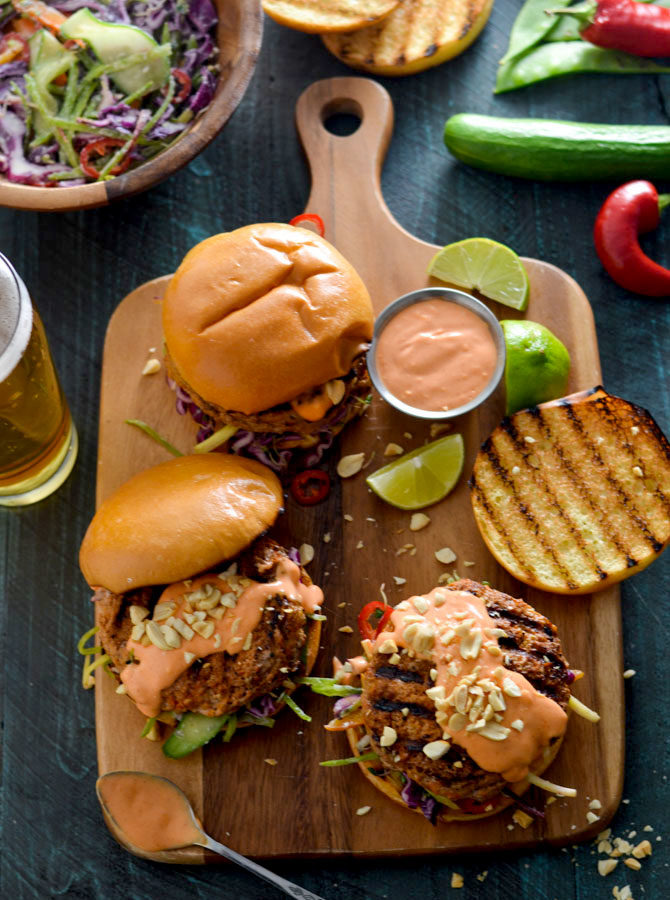 Thai Curry Turkey Burgers with Spicy Mayo and Coconut-Lime Slaw