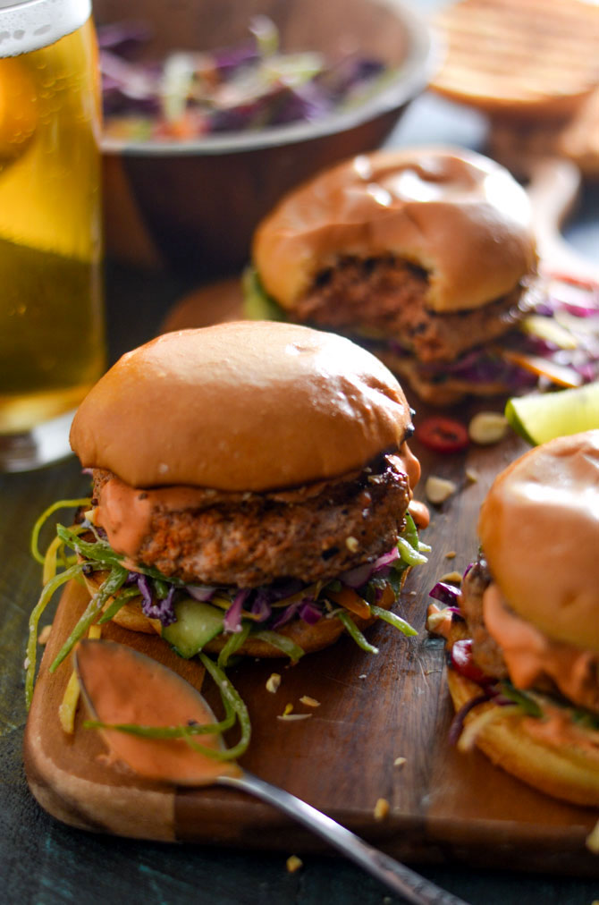 Thai Curry Turkey Burgers with Spicy Mayo and Coconut-Lime Slaw - Host ...