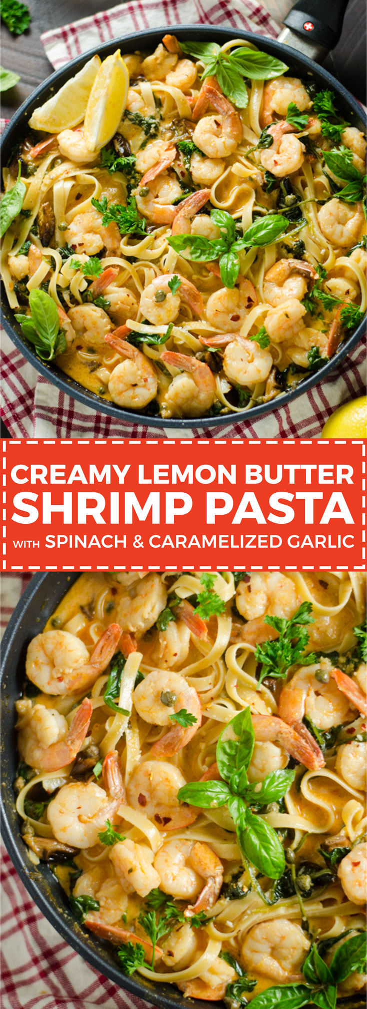 Creamy lemon butter shrimp pasta with spinach and caramelized garlic creamy lemon butter shrimp pasta with spinach and caramelized garlic this dinner recipe dials the forumfinder Gallery