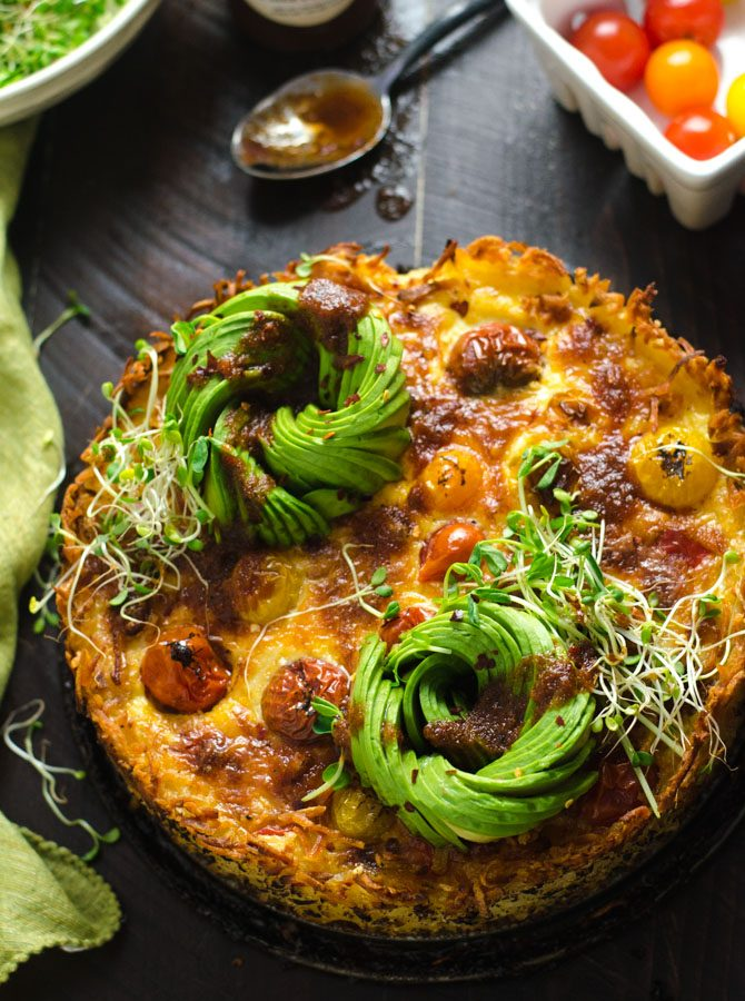 Hashbrown-Crusted California Quiche with Avocado Roses