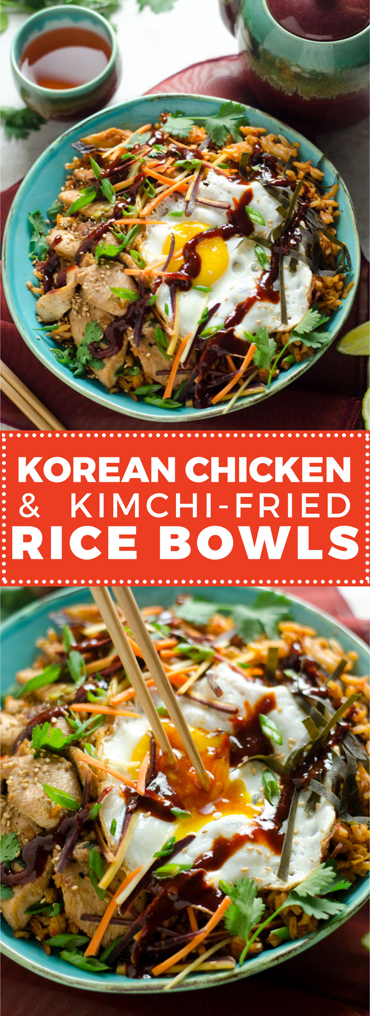 Korean Chicken and Kimchi Fried Rice Bowls. These spicy Asian-inspired bowls will make you want to never order takeout again. | hostthetoast.com
