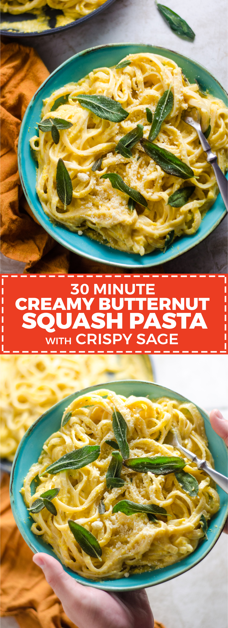 30 Minute Creamy Butternut Squash Pasta with Crispy Sage. This cheesy, creamy Fall pasta makes the perfect dinner for a cold weeknight. | hostthetoast.com