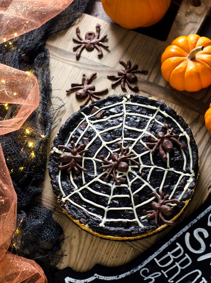 Spider Web S'more Cheesecake Brownies