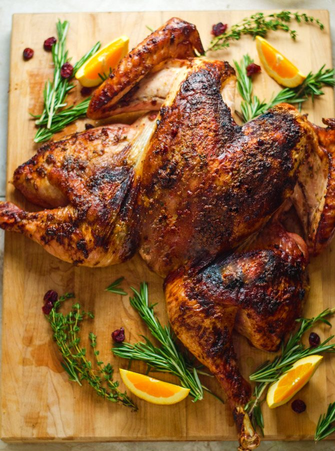 Crispy Cranberry-Herb Butter Butterflied Turkey with Roasted Vegetables