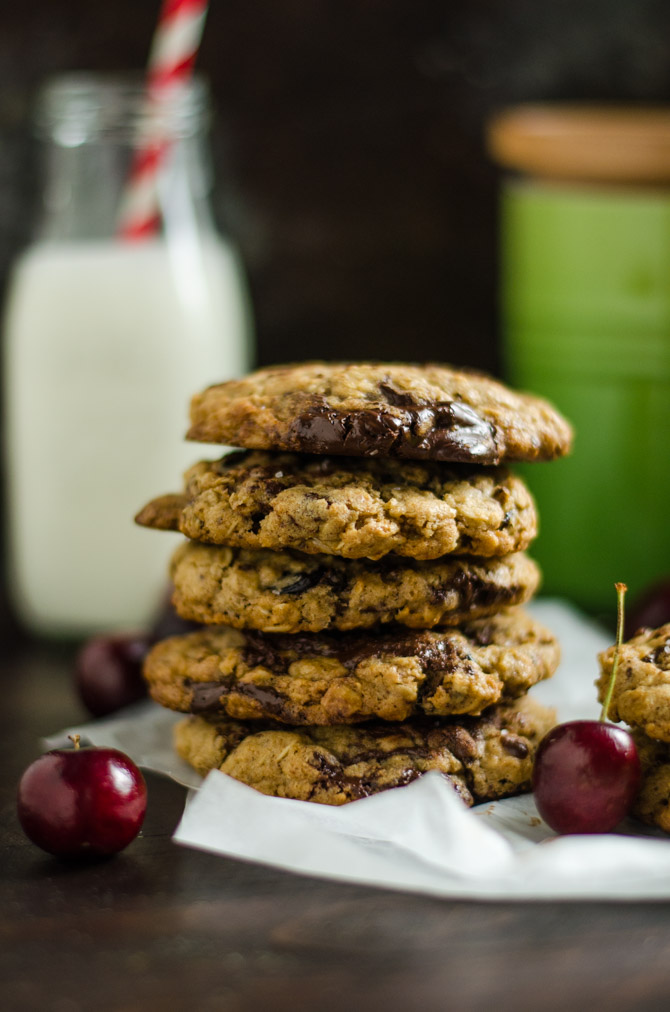 Chewy Cherry Chocolate Chunk Oatmeal Cookies. A major upgrade to the ...