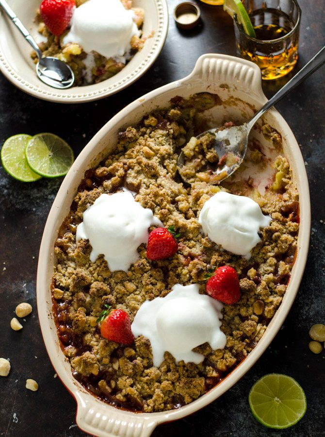Rum-Caramelized Banana Berry Nut Crumble