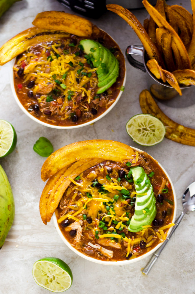 Slow cooker jamaican jerk chicken chili with plantain chips host slow cooker jamaican jerk chicken chili with plantain chips this set it and forumfinder Image collections