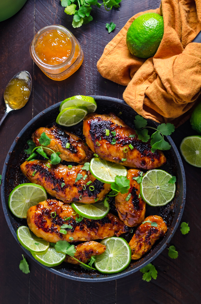 Sticky Chipotle-Peach Chicken. It takes less than an hour to prepare this sweet, spicy, and smoky chicken. And you probably have most of the ingredients on hand already! | hostthetoast.com