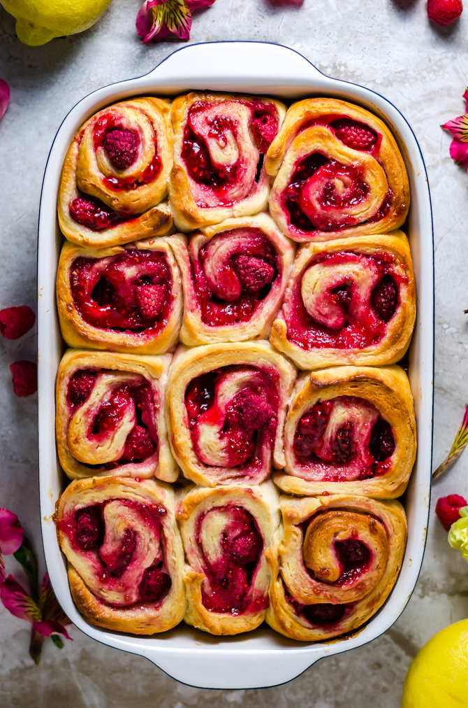 Overnight Raspberry Sweet Rolls with Lemon Cream Cheese Glaze. A brunch-lover's dream. | hostthetoast.com