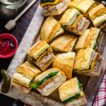Chicken Bacon Pressed Picnic Sandwiches with Raspberry Honey Mustard