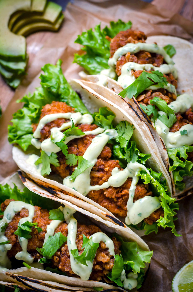 Crispy chicken tacos with avocado buttermilk ranch host the toast crispy chicken tacos with avocado buttermilk ranch these tacos arent traditional by any forumfinder Image collections