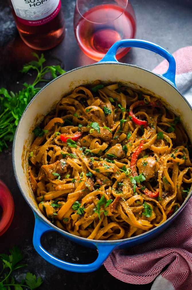 One Pot Cajun Chicken Alfredo. This creamy, flavorful, weeknight pasta dinner takes less than an hour to make, and is loaded up with chicken, bacon, bell peppers, and more! | hostthetoast.com
