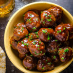 Slow Cooker Sticky Bacon & Whiskey Meatballs