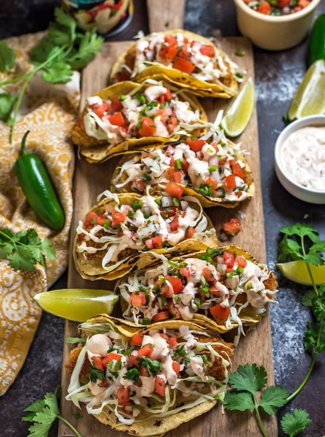 Crispy Hearts of Palm Tacos with Chipotle Baja Sauce