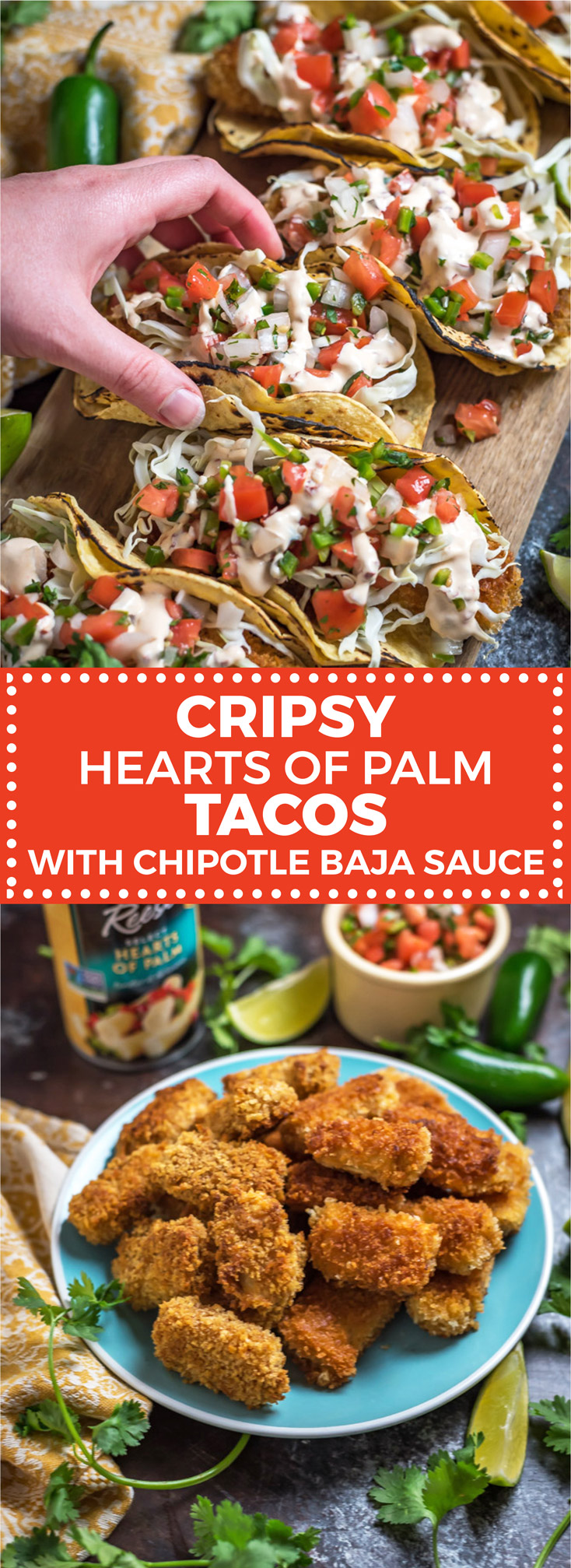 Crispy Hearts of Palm Tacos with Chipotle Baja Sauce. Have you ever tried hearts of palm in a taco before? They're flavorful, tender on the inside and crisp on the outside, easy to make, vegetarian and vegan friendly, and they taste *fantastic*. Check out the recipe and how-to video! | hostthetoast.com