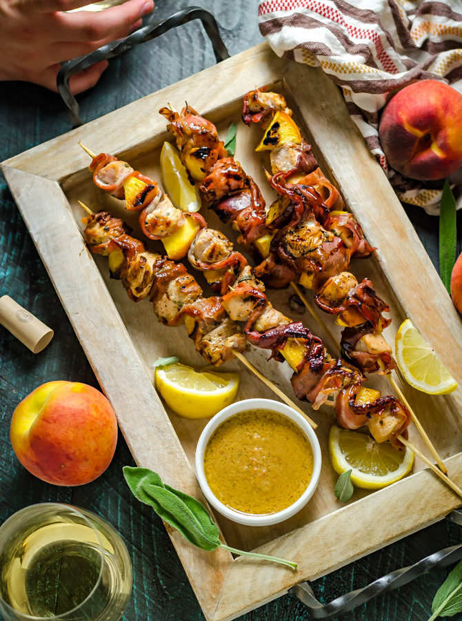 Grilled Chicken & Peach Saltimbocca Skewers