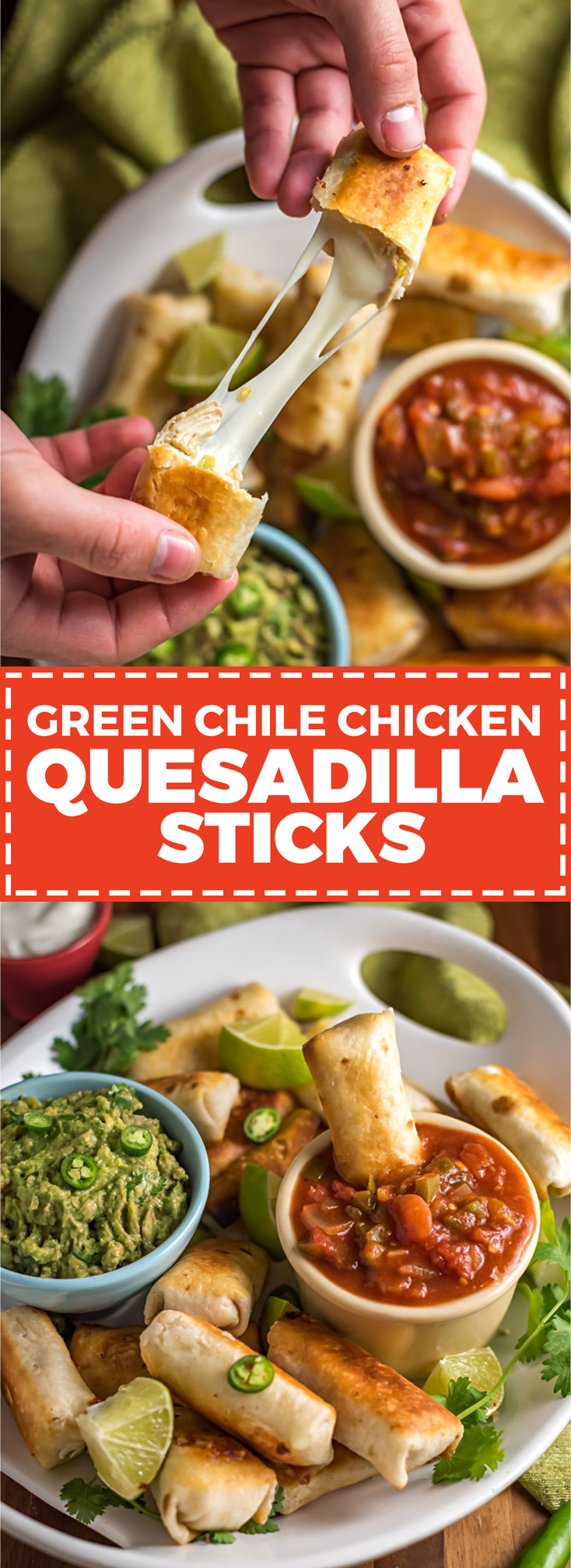 Green Chile Chicken Quesadilla Sticks. These easy-to-make appetizers are the love child of chicken quesadillas and mozzarella sticks. In other words, they're the snack you've always wished for. | hostthetoast.com