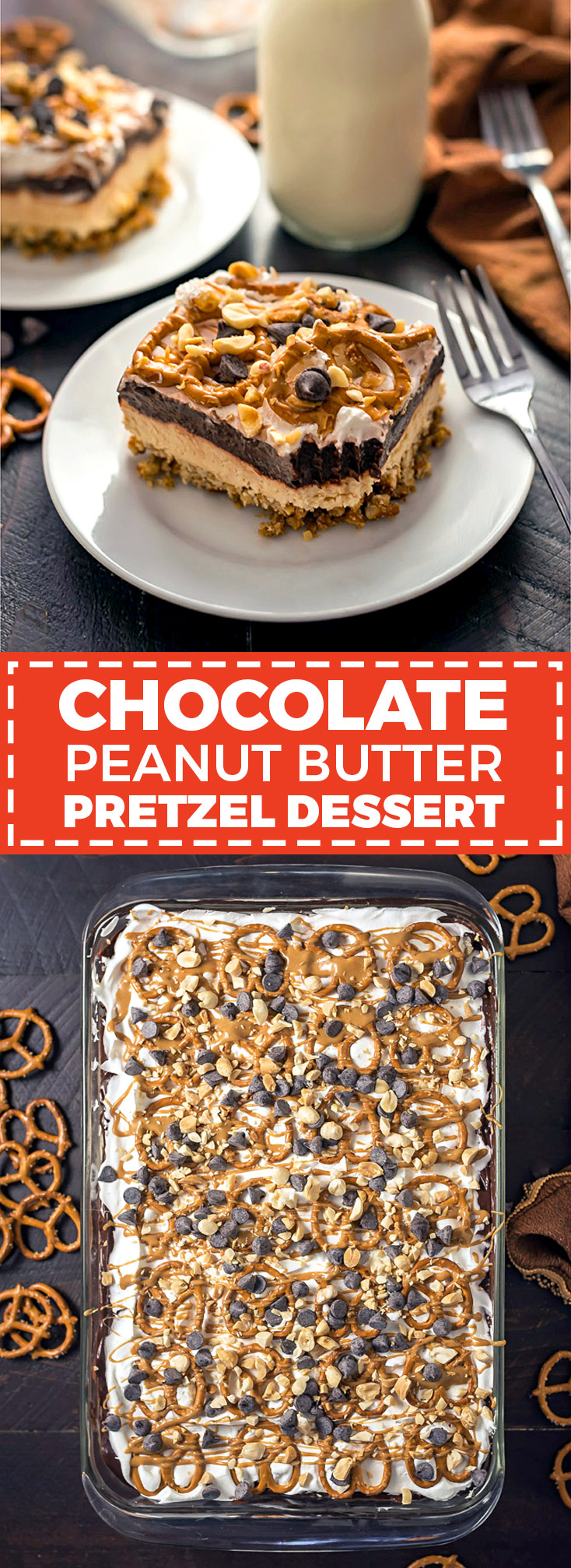 Chocolate Peanut Butter Pretzel Dessert. This easy to make, creamy, chocolatey, sweet-and-salty dessert is exactly what you need to serve a crowd. | hostthetoast.com