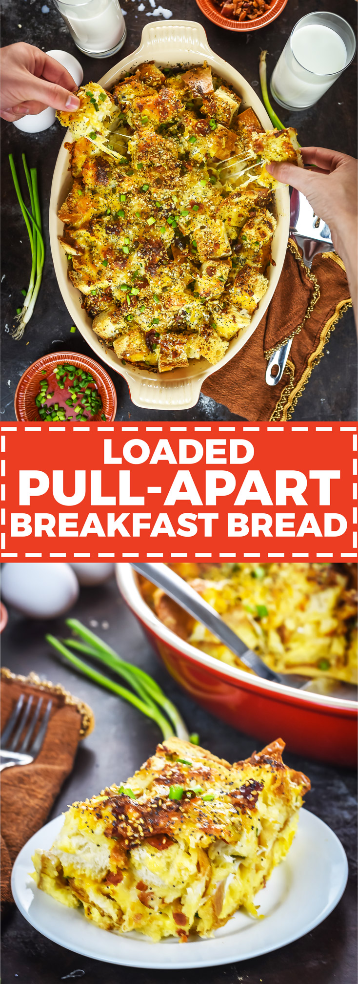 Loaded Pull-Apart Breakfast Bread. Bacon, eggs, cheese, scallions, and everything bagel seasonings make this brunch-friendly recipe a party hit. | hostthetoast.com