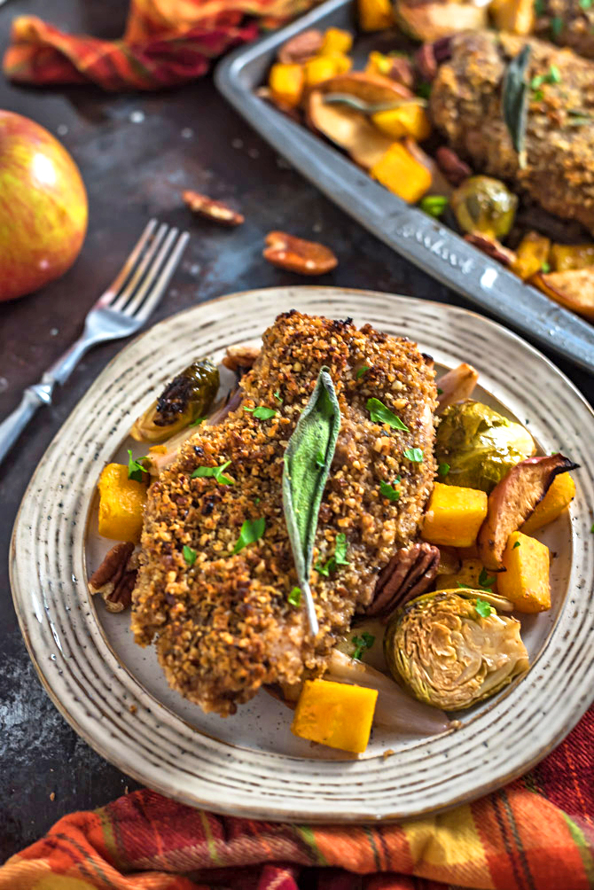 Sheet Pan Maple Pecan Crusted Chicken & Roasted Vegetables. 🍂 Want the flavors of fall in your dinner or meal plan dish? Loaded up with pecans, maple syrup, balsamic vinegar, Dijon mustard, sage, & fall veggies, this baked recipe will have you tasting autumn in every bite.   hostthetoast.com