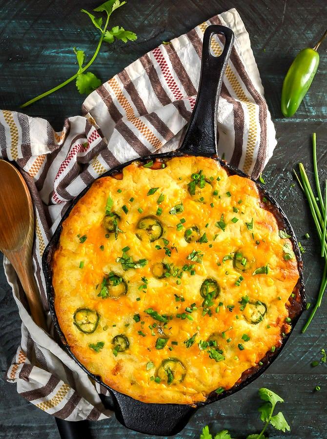 Skillet Cheddar-Cornbread BBQ Chicken Pot Pie