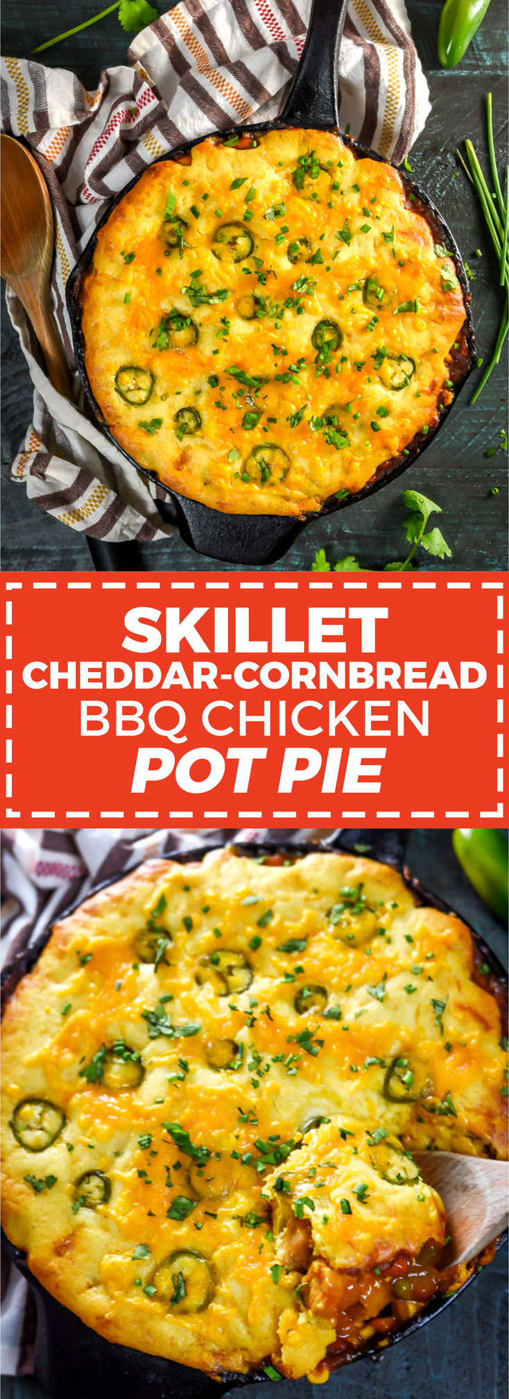 Skillet Cheddar-Cornbread BBQ Chicken Pot Pie. This easy recipe features a cheesy cornbread crust above tender chicken and vegetables in a barbecue sauce-based gravy. How's that for dinner? | hostthetoast.com