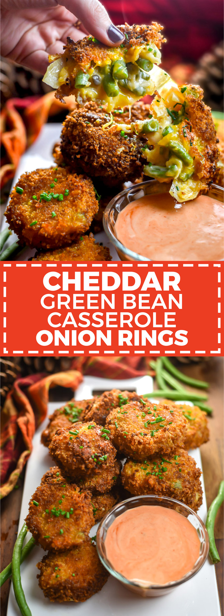Cheddar Green Bean Onion Rings. This cheesy, crunchy spin on the traditional Thanksgiving dish is better than ever! | hostthetoast.com