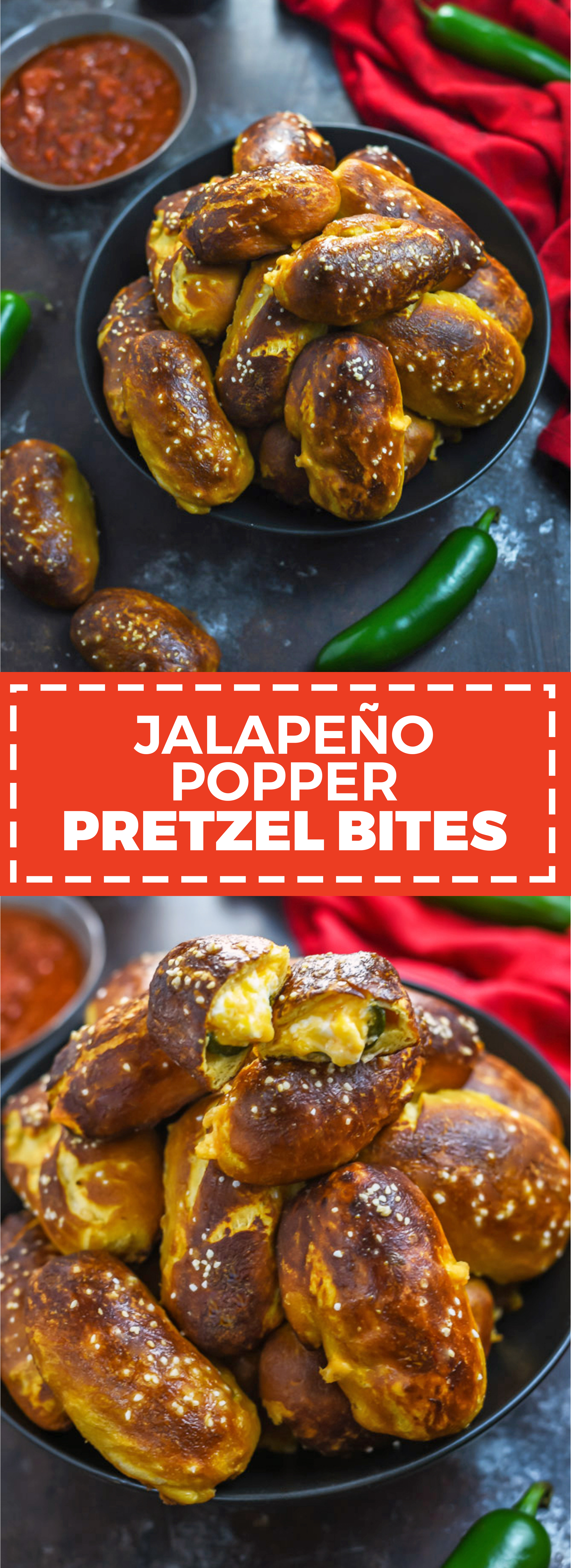 Jalapeño Popper Pretzel Bites. These cheesy, spicy party appetizers are so easy to make thanks to a premade dough shortcut! A video in the post shows exactly how it's done. | hostthetoast.com