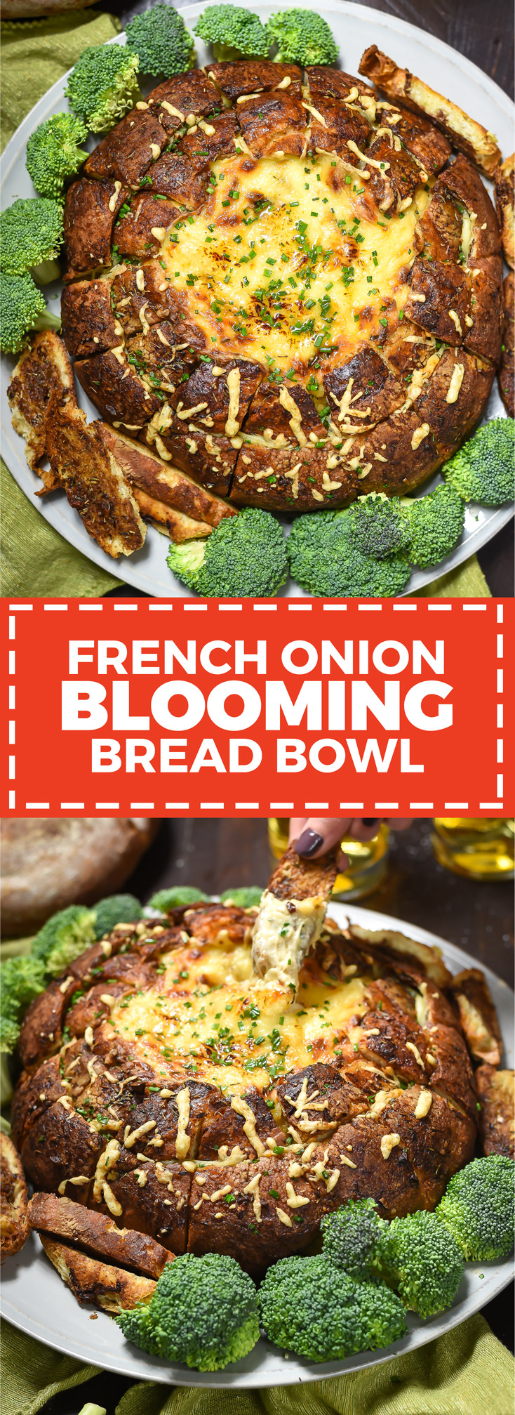 French Onion Blooming Bread Bowl. This cheesy, beefy, caramelized-onion loaded loaf is basically a fondue-ified version of French Onion Soup. | hostthetoast.com