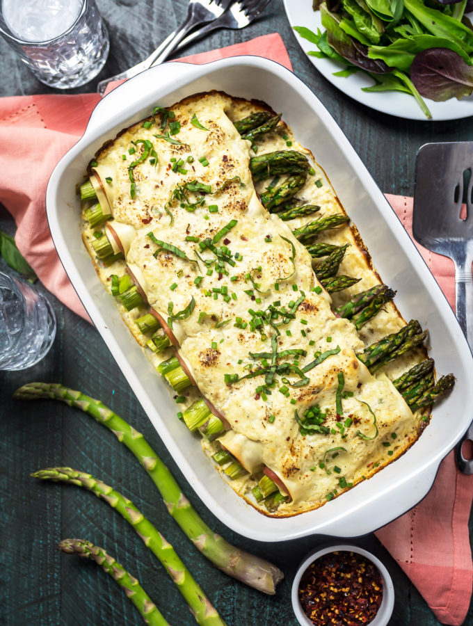 Cheesy Asparagus and Ham Cannelloni