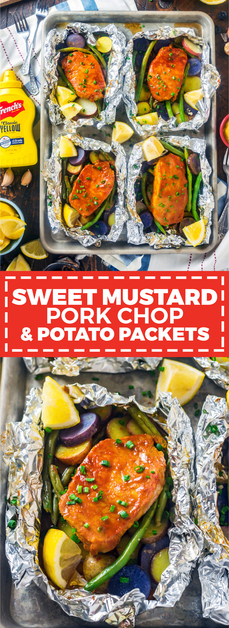 Sweet Mustard Pork and Potato Packets. They say good things come in small packages. These tangy, sweet, and smoky pork chop foil packets prove it-- and they're extremely easy to make, to boot. | #ad @FrenchsFoods | hostthetoast.com