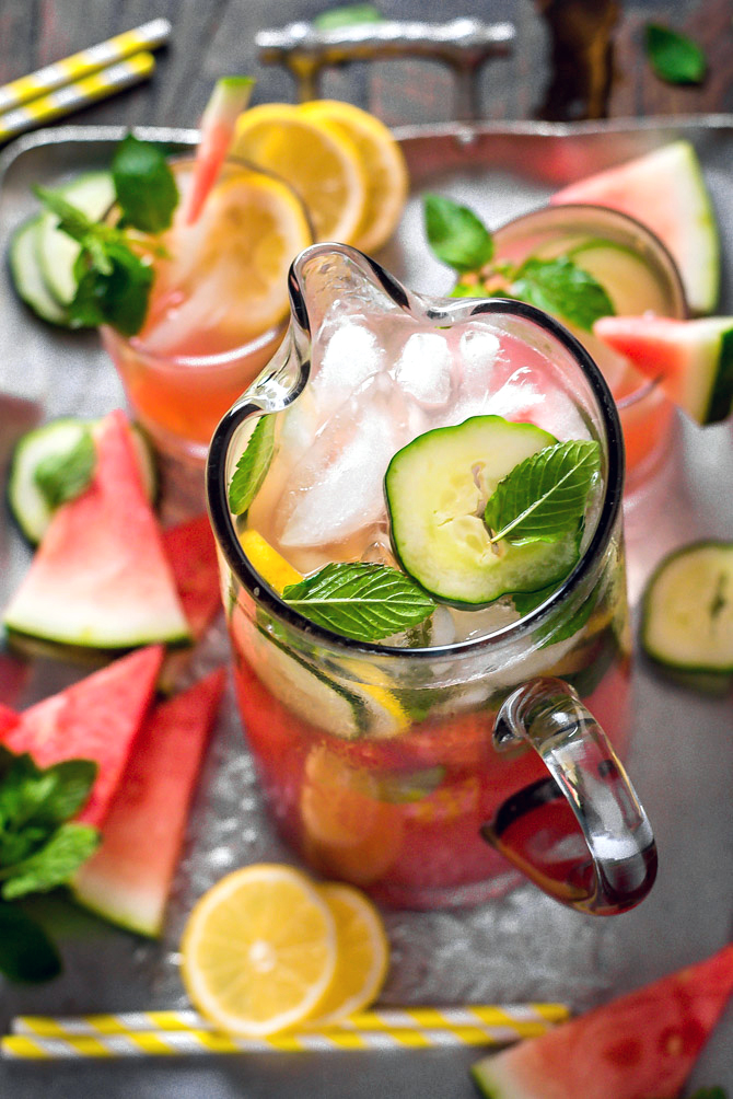Boozy Watermelon Mint Lemonade. Made from fresh watermelon, cucumber, lemon juice, and mint, this super refreshing cocktail is perfect for summer cookouts! | hostthetoast.com