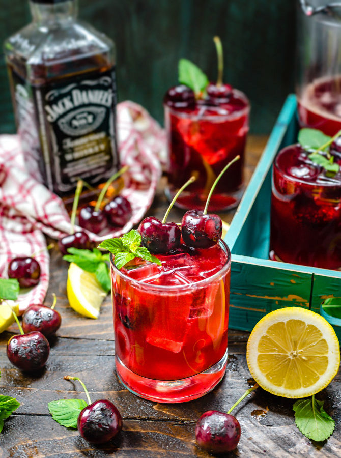 Charred Cherry Whiskey Lemonade