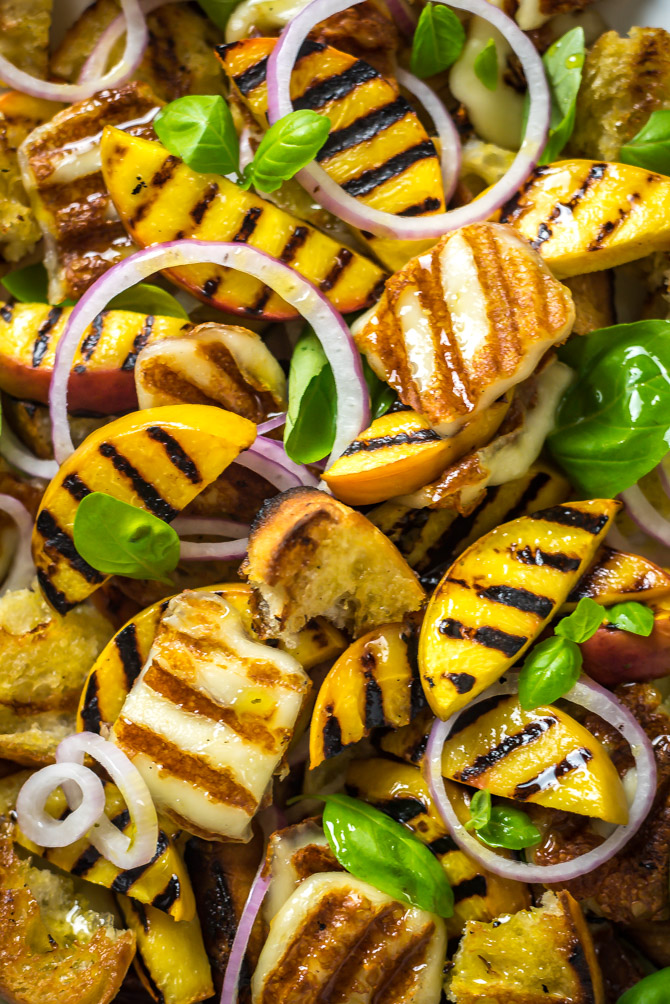 Grilled Peach and Halloumi Panzanella. This summer salad includes a mix of quickly grilled peaches, halloumi cheese, and ciabatta bread that's tossed with fresh basil, red onions, and a simple white balsamic vinaigrette. | hostthetoast.com