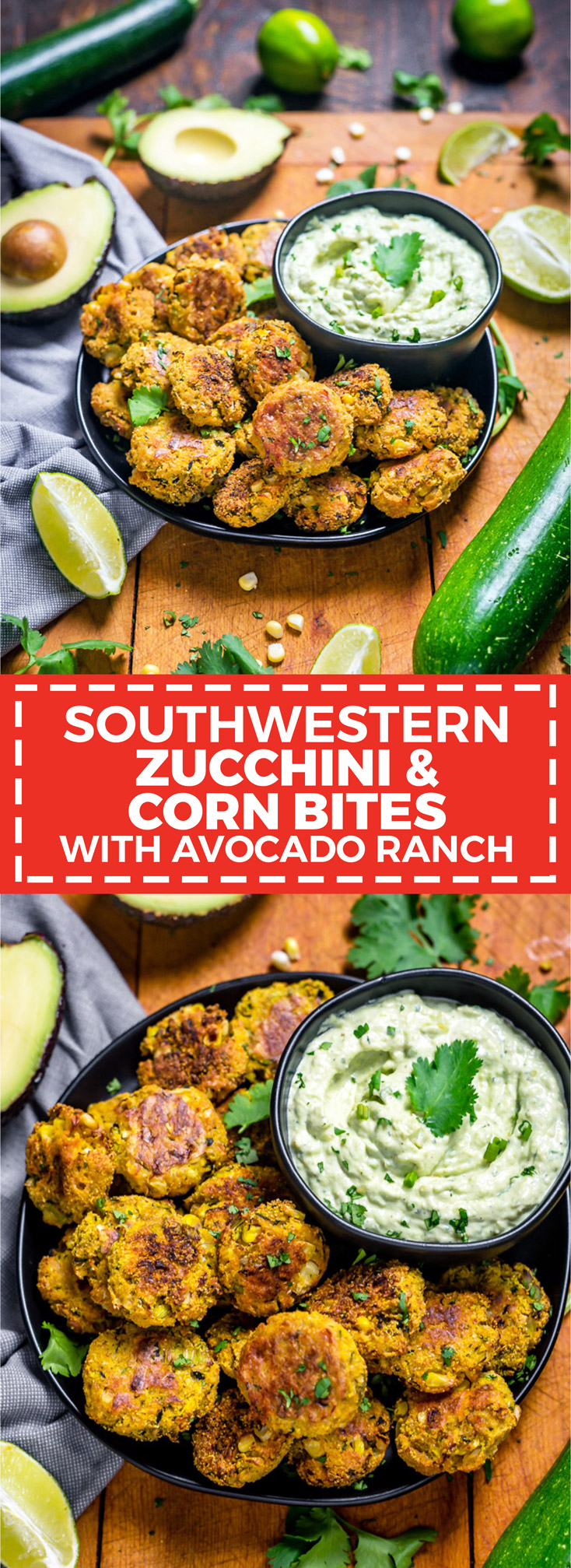 Southwestern Zucchini and Corn Bites with Avocado Ranch. No need to break out the fryer for this (conveniently gluten-free) recipe-- these bite-sized, veggie-loaded treats are baked until crisp on the outside and tender on the inside. | hostthetoast.com