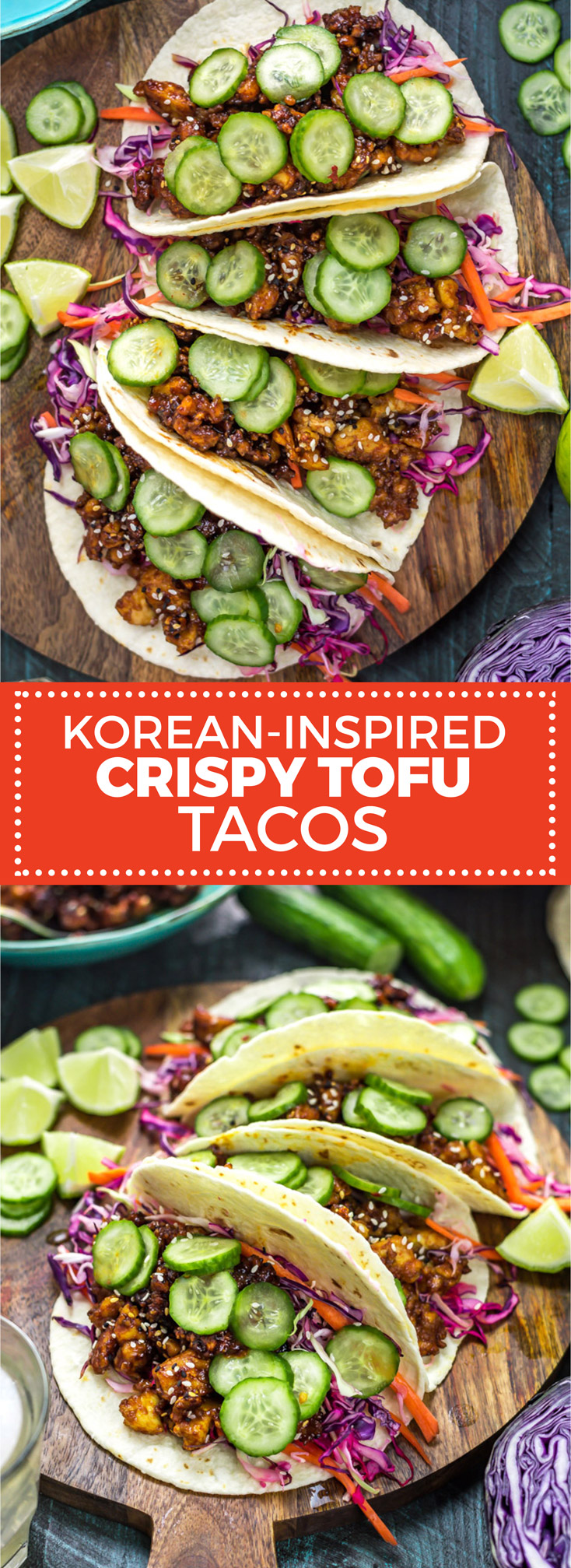 Korean-Inspired Crispy Tofu Tacos. Learn the secret to making the best crispy tofu and serve it in flavor-packed tacos with crunchy slaw and quick pickles.